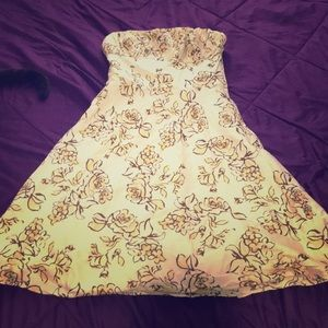 Ann Taylor LOFT yellow floral strapless dress 2
